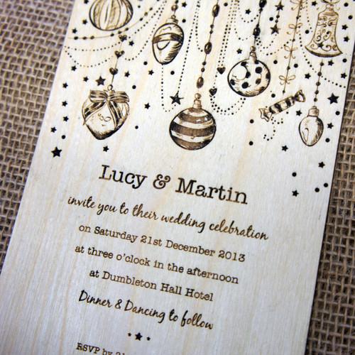 Wooden Wedding Invitations - Christmas Wedding