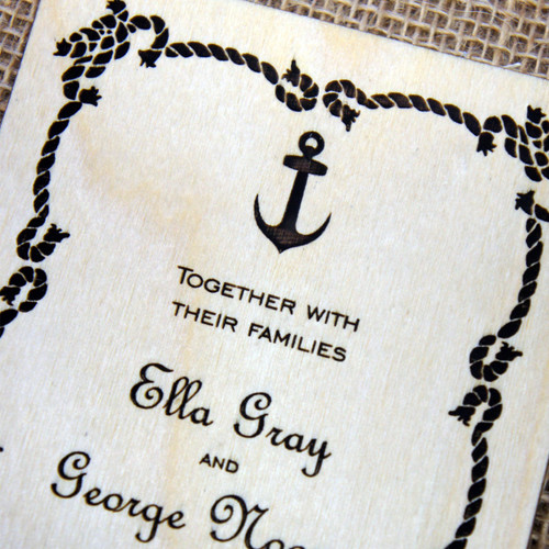 Wooden Wedding Invitations - Nautical