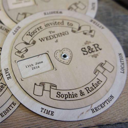 Wooden Wedding Invitation - Wedding Wheel