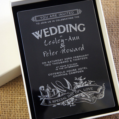 Clear Acrylic Wedding Invitation - Swallows shown in Ivory box
