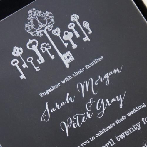 Clear Acrylic Wedding Invitation - Keys
