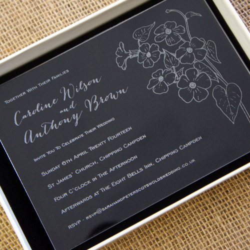 Clear Acrylic Wedding Invitation - Posy shown in Ivory box