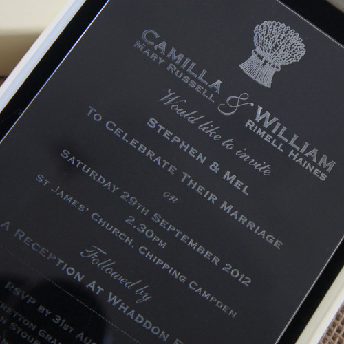 Clear Acrylic Wedding Invitation - Harvest shown in Ivory box