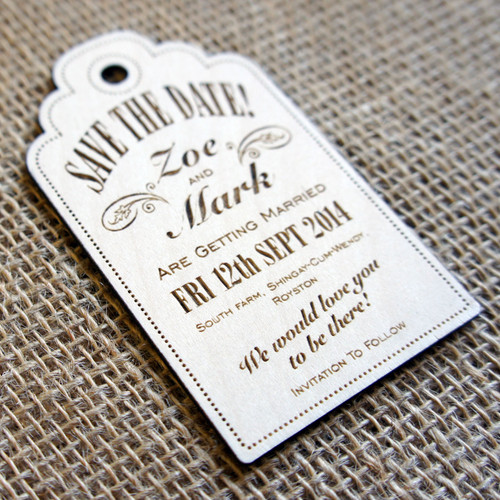 Wooden laser engraved Save the Date Luggage Tag - Style 01 with no attachments