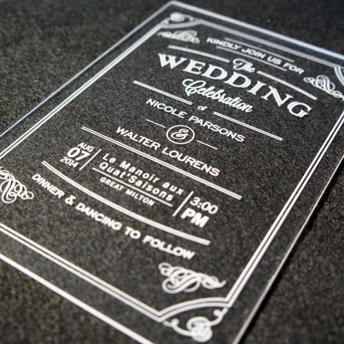 Acrylic Wedding Invitations - Vintage Flourish