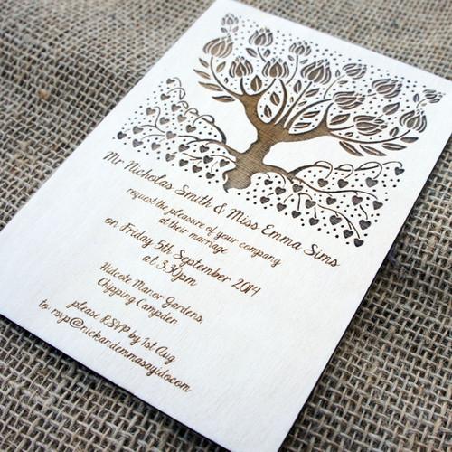 Wooden Wedding Invitations - Wedding Tree