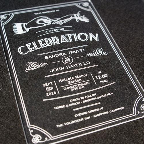 Clear Acrylic laser engraved Wedding Invitation - Celebration