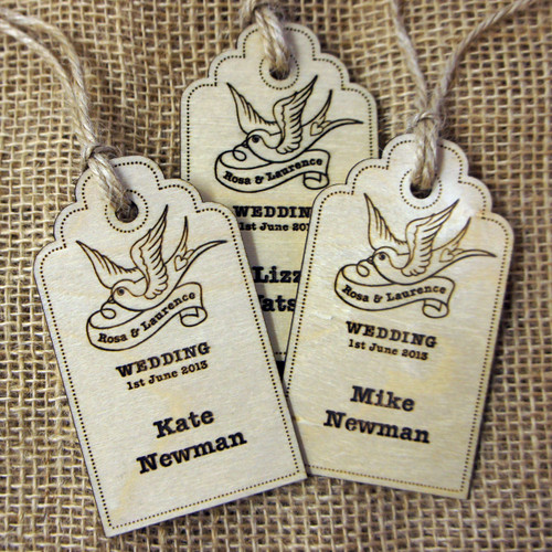 Personalised engraved Wooden Wedding Place Names - Swallow Luggage Tags