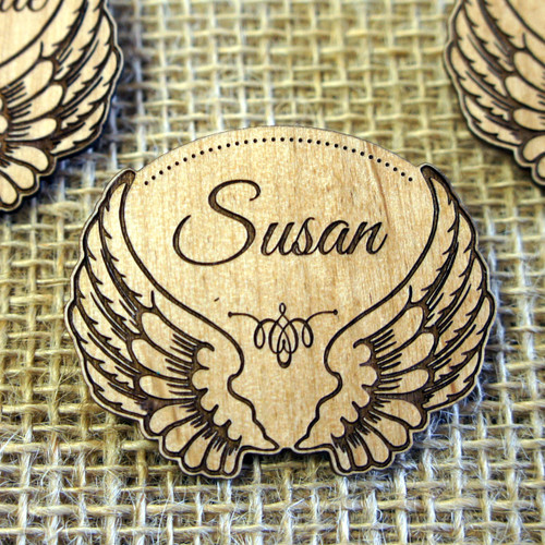 Personalised engraved Wooden Wedding Place Names - Wings Badge
