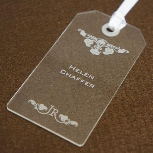 Personalised acrylic wedding place name - Luggage tag