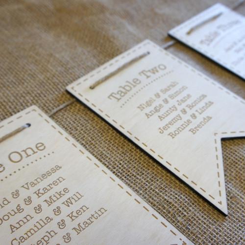 Wooden Wedding Table Plan - Bunting