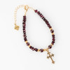 Garnet Bracelet with Cross Pendant