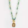 Roman Glass Long Necklace with Cross Pendant