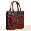 Burgundy Crocodile Embossed Purse-style Bible Cover