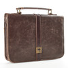 Brown Distressed Faux Leather Bible Cover with Cross Badge