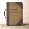 Be Strong and Courageous Faux Leather Bible Cover - Joshua 1:9