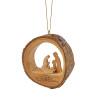 """Olive Wood Round Holy Family Ornament 3"""" - Bethlehem"""