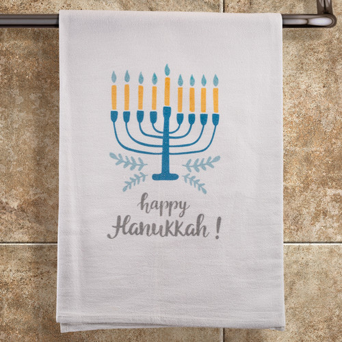 Happy Hanukkah Menorah Towel