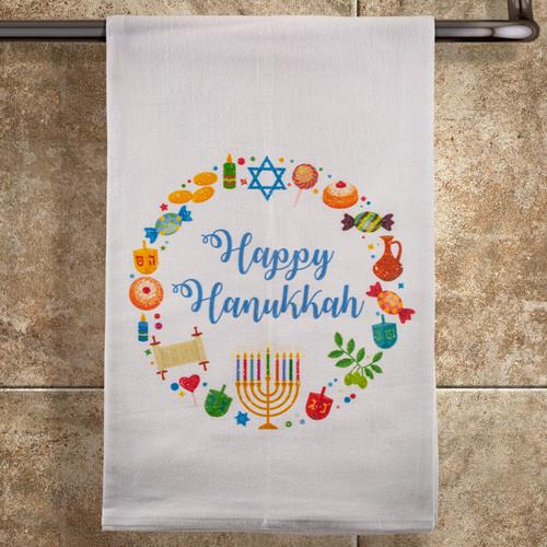 Happy Hanukkah Wreath Towel