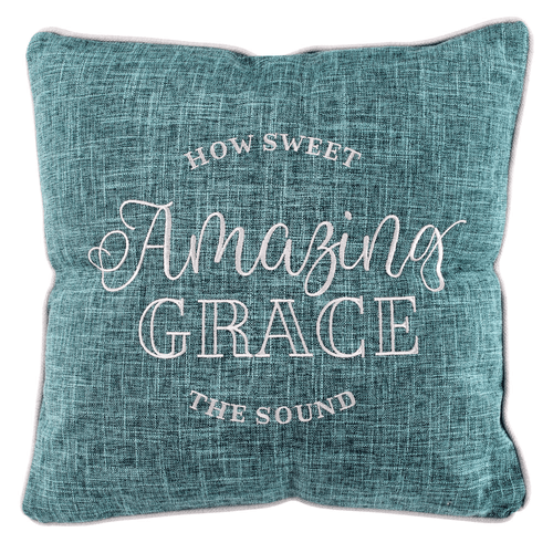Amazing Grace Embroidered Square Pillow 18""