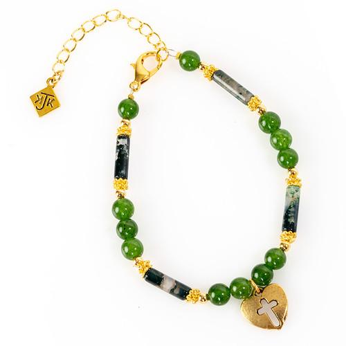 Cross in Heart Jade Bracelet