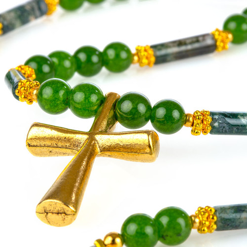 Jade Necklace with Gold Cross Pendant
