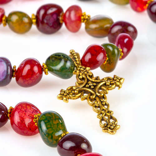 Fire Crackle Agate Necklace with Cross Pendant