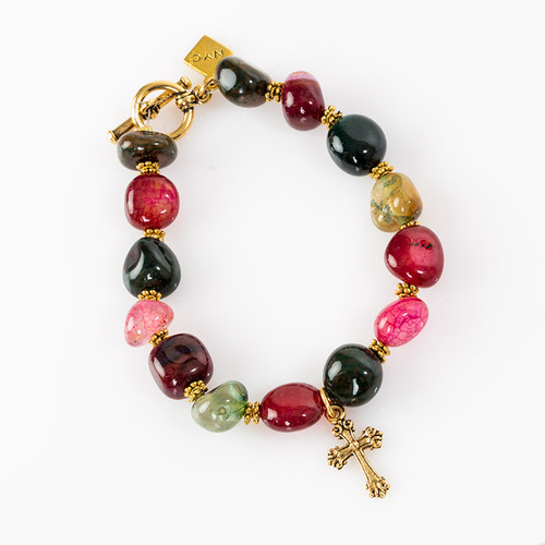 Fire Crackle Agate Bracelet with Cross Pendant