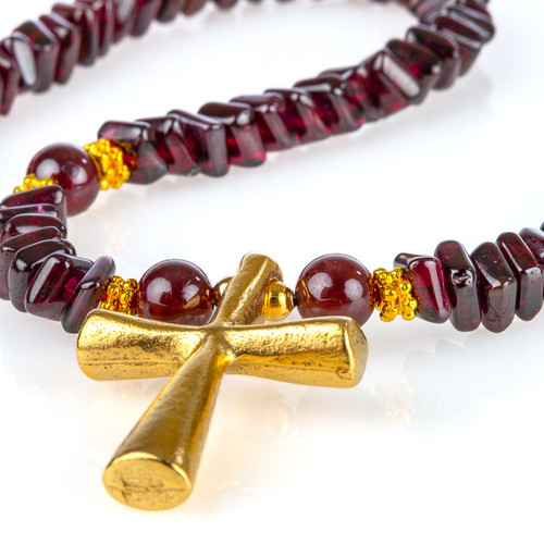 Garnet Necklace with Cross Pendant