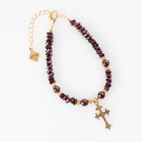 Garnet Bracelet with Cross Pendant