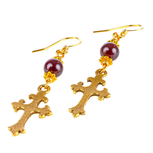 Garnet Earrings with Cross Pendant