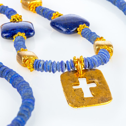 Lapis Lazuli Necklace with Cutout Cross