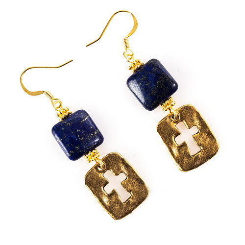 Lapis Lazuli Earrings with Cutout Cross