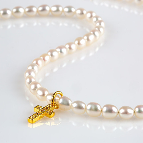 Cultured Pearls with Crystal Cross