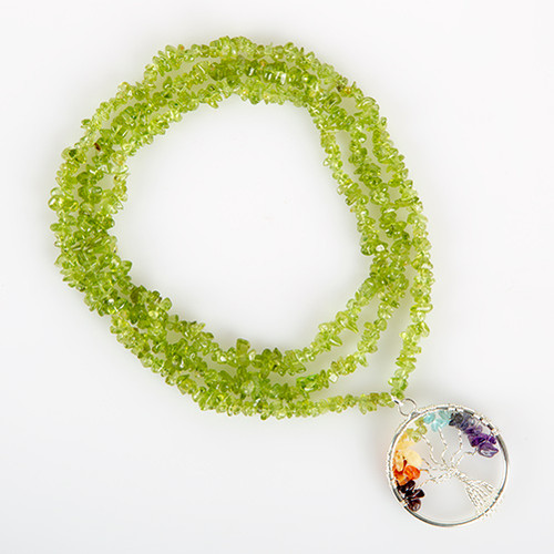 Peridot Stone Tree of Life Necklace