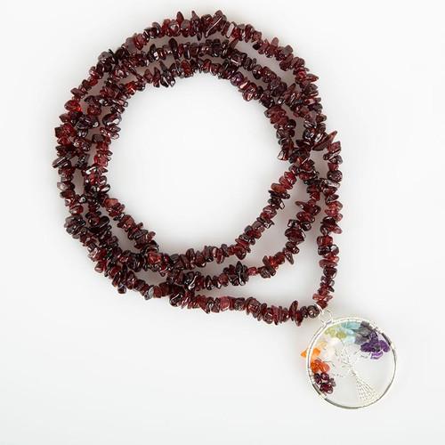 Garnet Stone Tree of Life Necklace