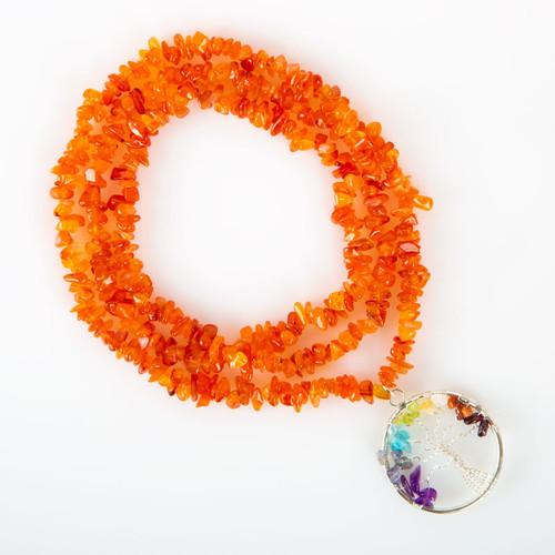 Carnelian Stone Tree of Life Necklace