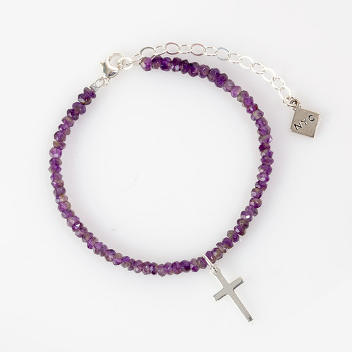 Amethyst Bracelet with Silver Cross Pendant