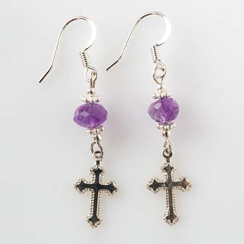 Amethyst Earrings with Silver Cross Pendant