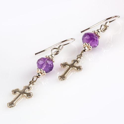 Amethyst Earrings with Silver Cross Pendant