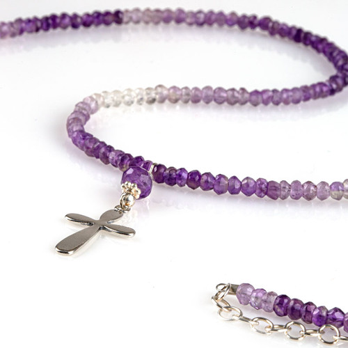 Amethyst Necklace with Silver Cross Pendant