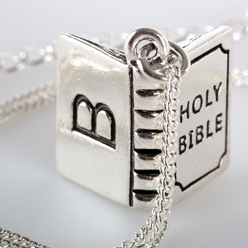 Silver-Plated Bible Charm with Sterling Silver Chain