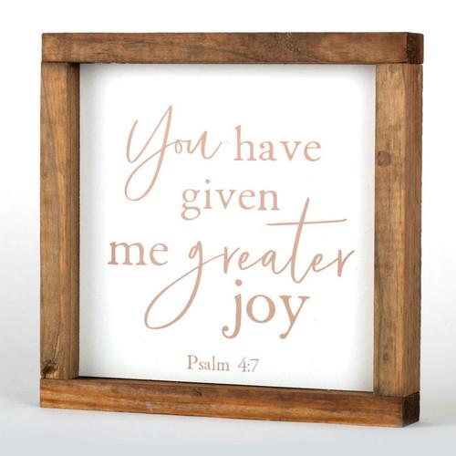 "Psalm 4:7 Wall Art Wood Frame | 8"" × 8"""