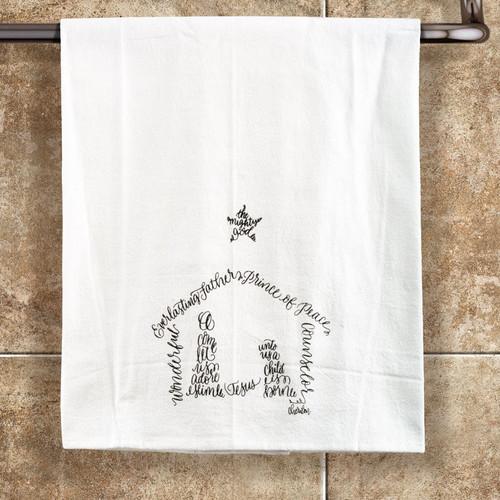Nativity Calligram Tea Towel