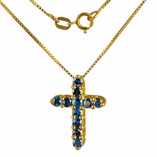 Cross Pendant with Sapphire Gemstones