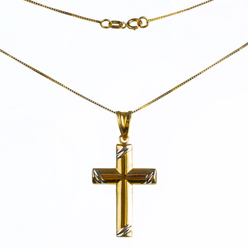 Two-Tone Edge Cross Pendant