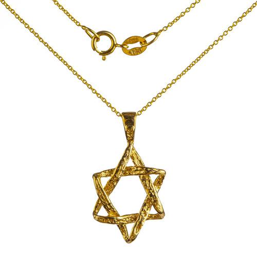 Hammered Gold Star of David Pendant