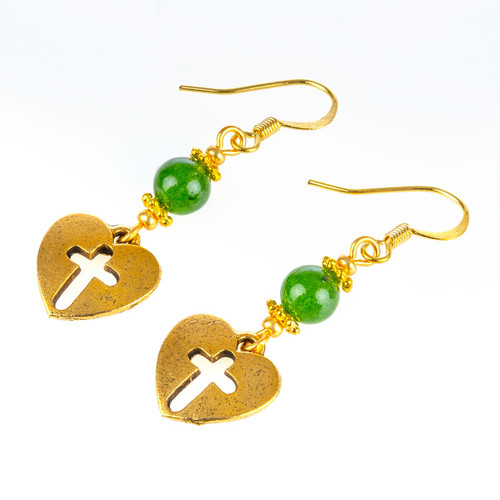 Cross in Heart Jade Earrings