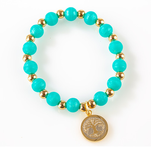 Turquoise Beaded Tree of Life Bracelet