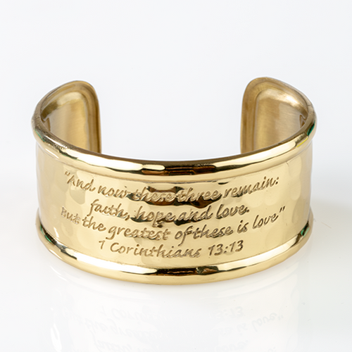 Faith, Hope and Love Rimmed Cuff Bracelet